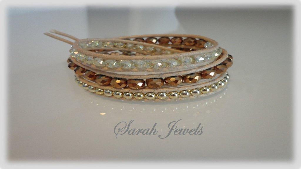 Bracciale moda wrap bracialet primavera estate 2014 stile chan luu  triplo giro sui toni naturali e oro