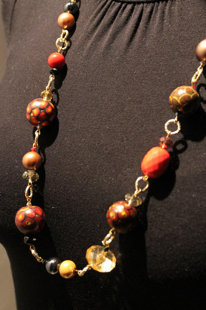 """Collana realizzata a mano con perle fantasia in Fimo - """"Sunset"""""""