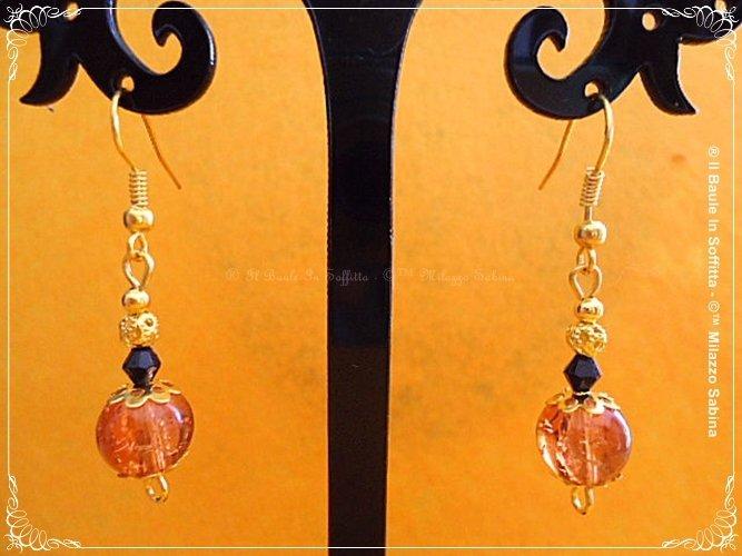Orecchini pendenti con perla Craclè color ambra