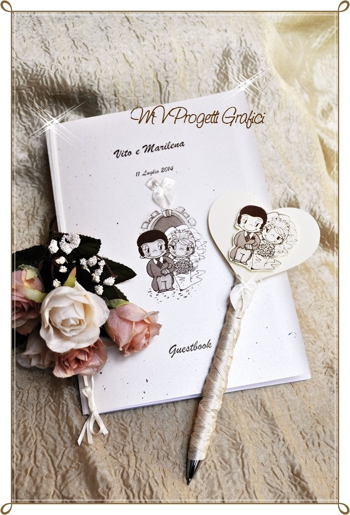 SET GUESTBOOK LOVE IS CON PENNA COORDINATA - HANDMADE