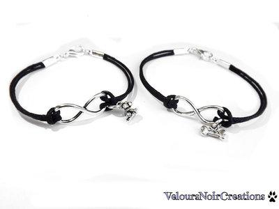 2 bracciali simbolo infinito ciondoli  cane osso