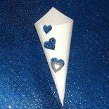 coni riso artigianali cuori blu glitterati cuore madreperla