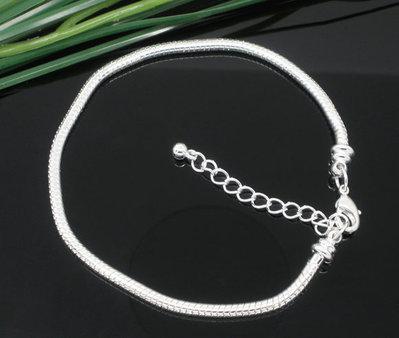 bracciale snake argentato con Moschettone  per perle a foro largo 21 cm