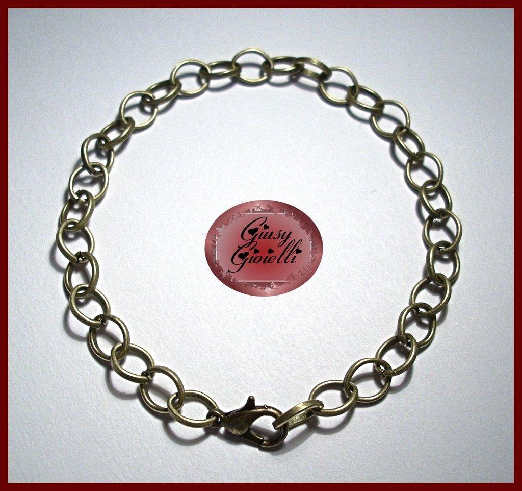 2x Base bracciale color bronzo con maglie 6x8 mm.