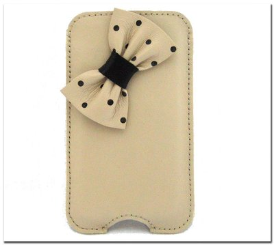 Custodia i Phone 5/5s in pelle avorio bicolore con col fiocco a pois