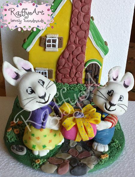 """Cake topper per torte di compleanno/feste per bambini """"Max & Ruby: un regalo per..."""""""