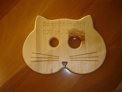 LO spaGATTOmetro - sottopentola in legno e dosa spaghetti - idea regalo - cucina - no fimo