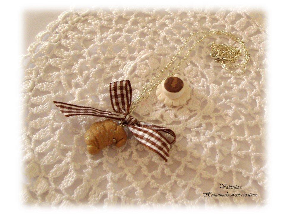 Collana colazione (croissant e tazzina fimo)