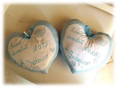 Coppia Fiocco nascita stoffa cuore per i Nonni