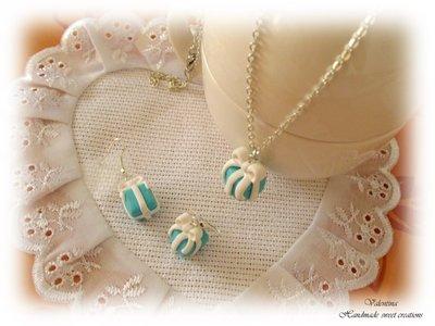 Parure orecchini e collana pacchetto regalo color tiffany blu fimo