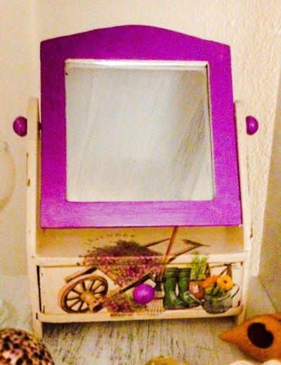 Specchio girevole da tavolo decorato a decoupage