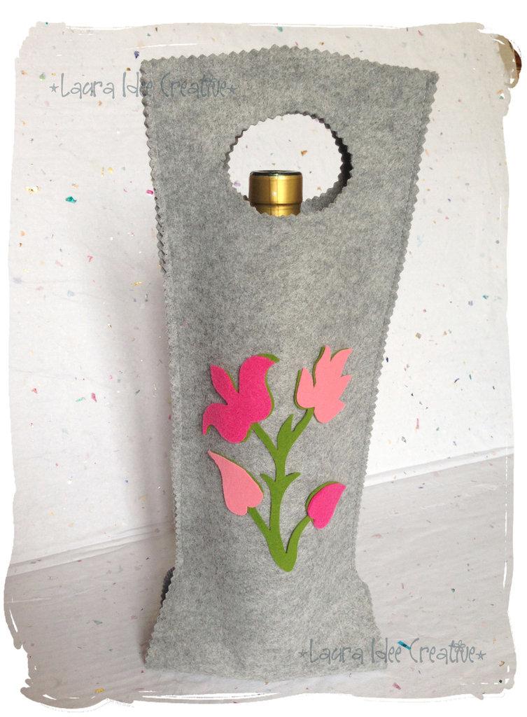 Portabottiglie in feltro con fiori