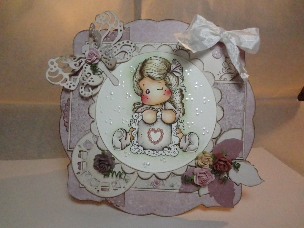 CARD Magnolia WRITE A MESSAGE TILDA (OOAK)