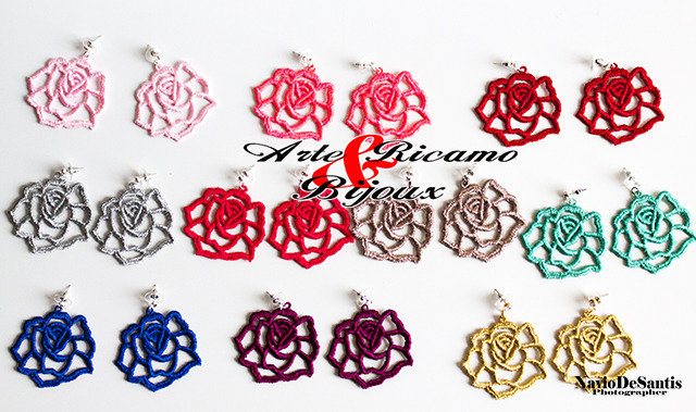 Orecchini moda 2014 mod. Rose in pizzo by Arte Ricamo e bijoux