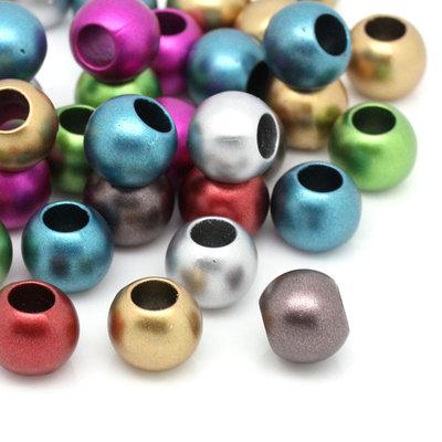 10 perle a foro largo 12 mm colori mix acoppie