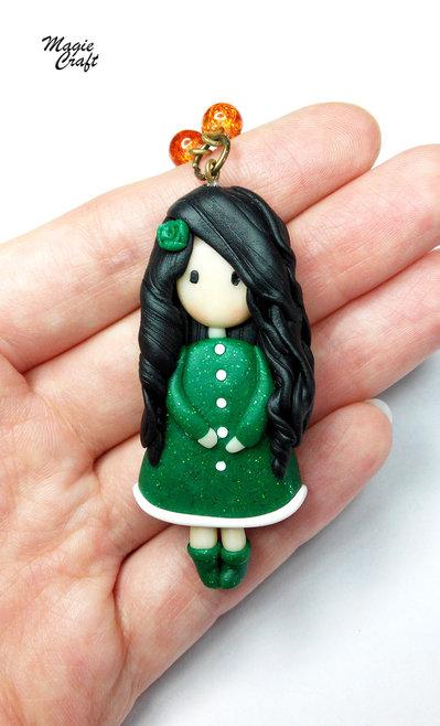 Collana Bambolina (green) ispirazione Gorjuss