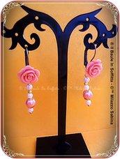 Orecchini stile Vintage con rosellina rosa antico