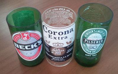 3 bicchieri birra Beck's, Corona e Heineken da bottiglie