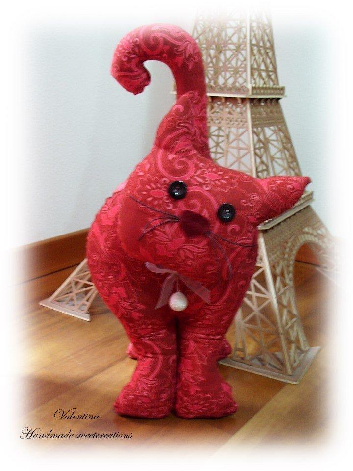 Gatto fermaporta stoffa- bordeaux- rosso fragola