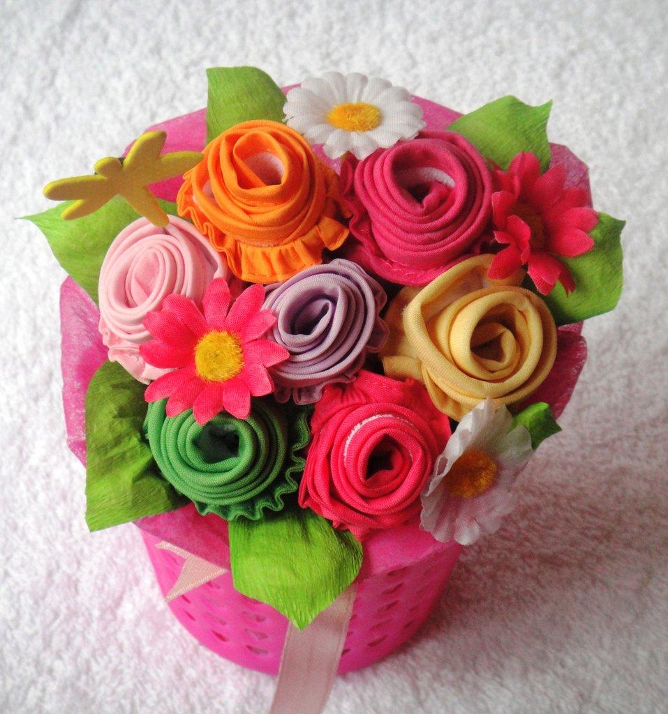 """Baby bouquet con mini bag - Bouquet di bavaglini """"Dolce settimana"""""""