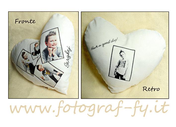 Cuscino a forma di cuore 100% personalizzabile con delle tue foto