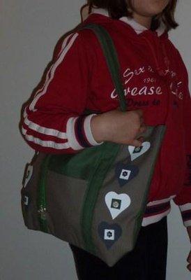 borsa verde/grigio con applicazioni in pelle