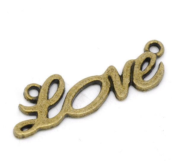 """Ciondolo Connettore """"Love"""" bronzo 33×10mm"""