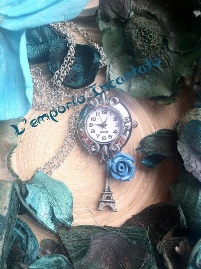 """Collana/Orologio  """"Paris"""" con vero orologio funzionante"""