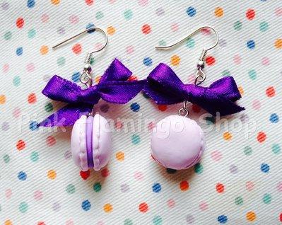 Orecchini Macarons 1 con fiocco - realizzati a mano in Fimo - kawaii handmade sweets