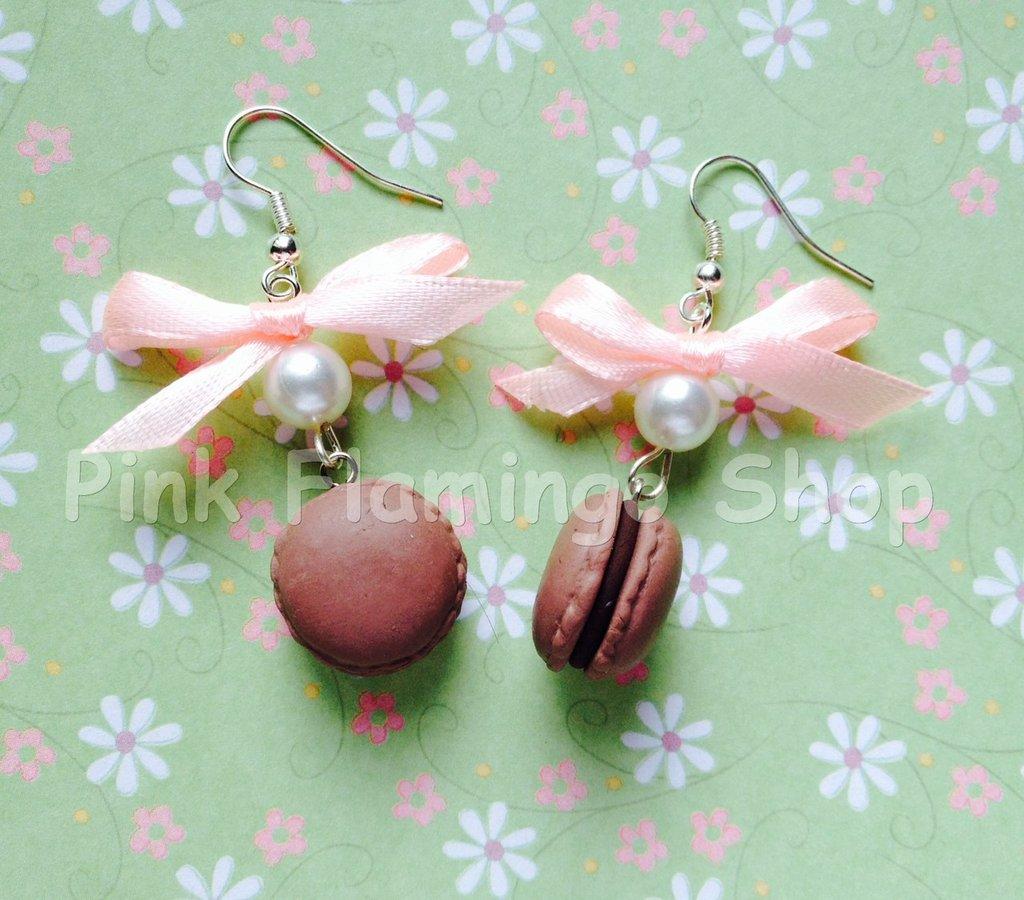 Orecchini Macarons 2 con fiocco - in Fimo - kawaii dolci