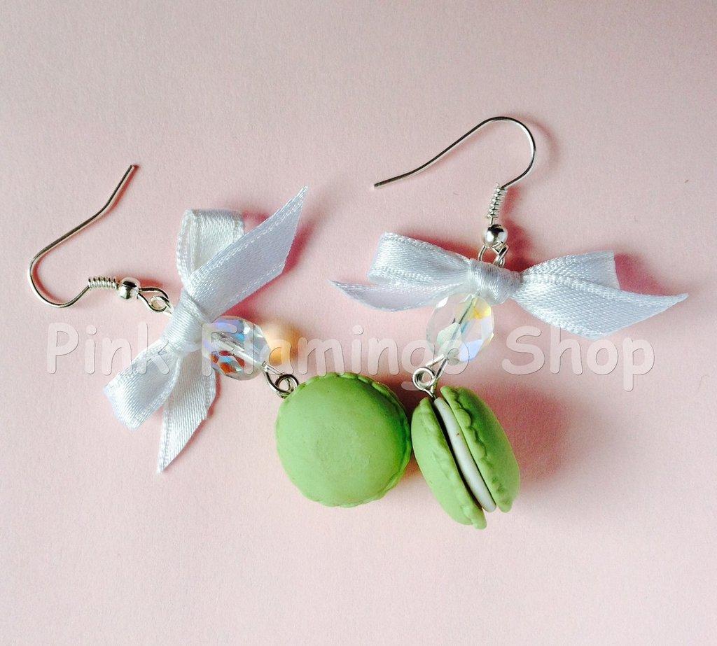 Orecchini Macarons 3 con fiocco - in Fimo - kawaii dolci