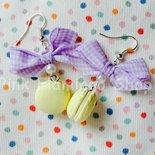 Orecchini Macarons 4 con fiocco - in Fimo - kawaii dolci