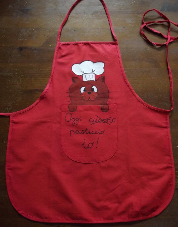 Grembiuli Da Cuoco Per Bambini.Grembiule Rosso Da Cucina Per Bambini Con Gatto