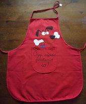 Grembiule rosso da cucina per bambini con cane