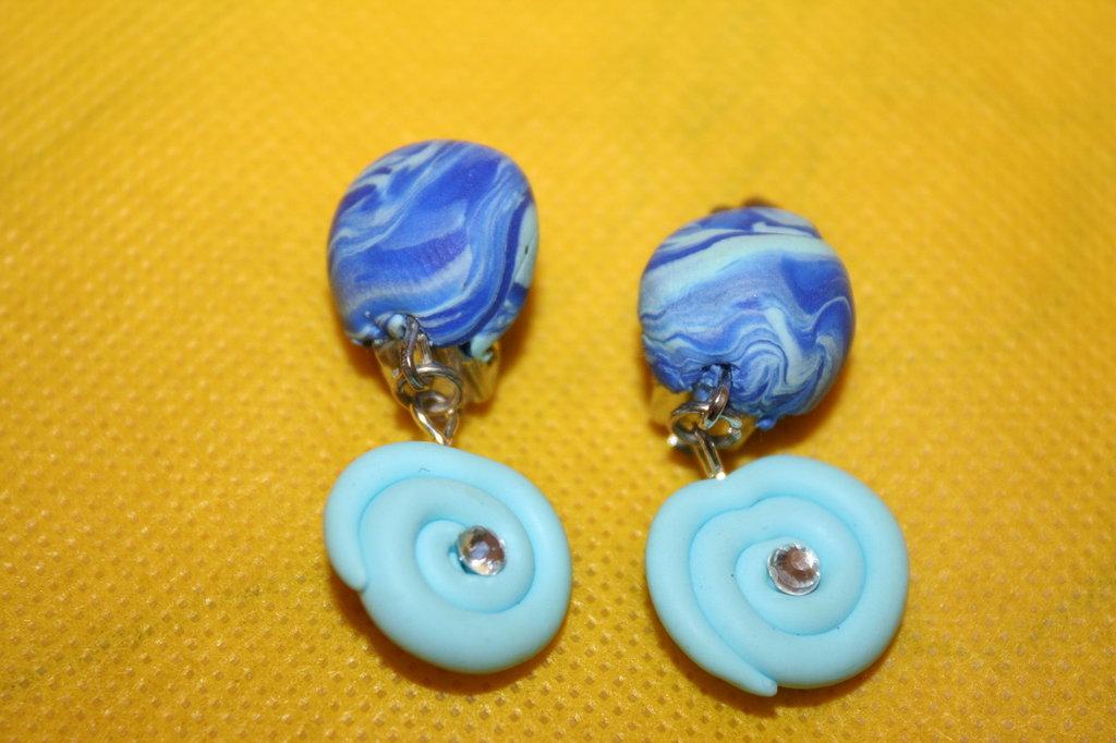 orecchini clip (Senza foro) - ciondolo azzurro girella brillantino