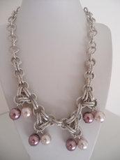Girocollo Catena di Alluminio e Perle