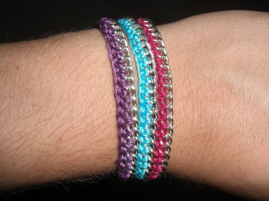 braccialetti uncinetto e catena