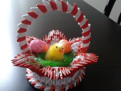 Cestino con pulcino,uova e paglia per la pasqua
