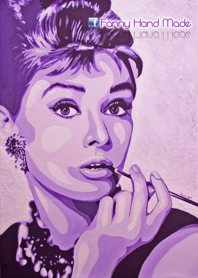 Dipinto - acrilico su tela - ritratto di Audrey Hepburn