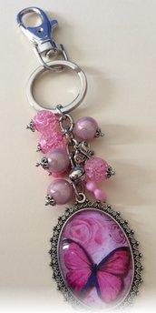 Portachiavi Farfalla Rosa