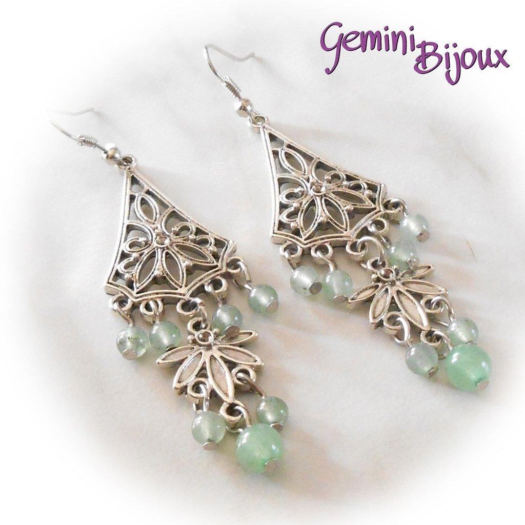 Orecchini chandelier con perle di avventurina