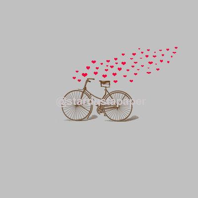Carta Digitale Con Bicicletta e Cuori Rossi