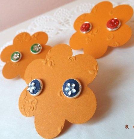 NOVITA!!:Orecchini a bottone decorati con fimo e strass