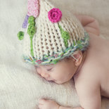 """Cappellino neonato / Cappellino bambina / Berrettino Fatto a mano /Accessori neonato / Maglia neonato/crochet bambini / Photo prop / """"Aspettando primavera"""""""