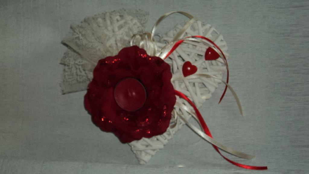 centrotavola cuore artigianale personalizzabile con candela per cerimonie matrimoni
