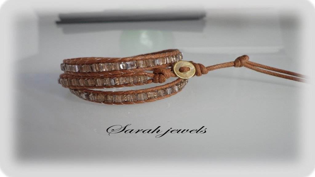 Bracciale moda primavera estate 2014 stile chan luu  triplo giro cordoncino pietre wrap bracialet