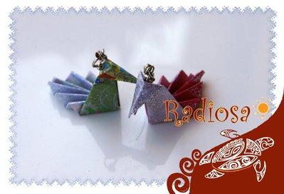 Orecchini da veri origami Giapponesi di due Cigni