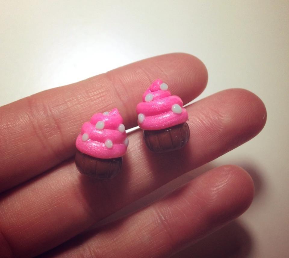 Orecchini Cupcake Rosa in Fimo
