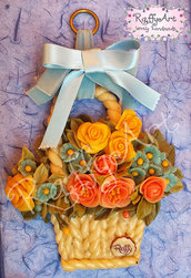 "Cestino di fiori in pasta di mais ""Spring flowers"""