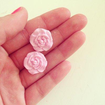 Orecchini Rosa in Fimo
